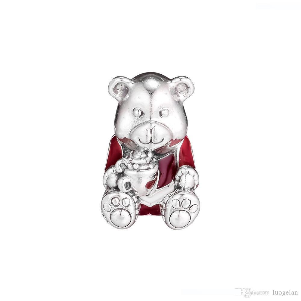 2018 Winter 925 Sterling Silver Jewelry Christmas Red Bear Enamel Charm Beads Fits Pandora Bracelets Necklace For Women Jewelry