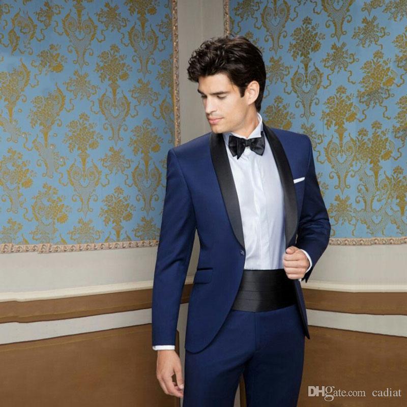 Azul smoking del novio ajuste clásico para hombres Trajes de boda Personalizar hombre de la técnica padrinos de atuendos 2Piece hombre Ternos Traje Hombre Trajes de hombre