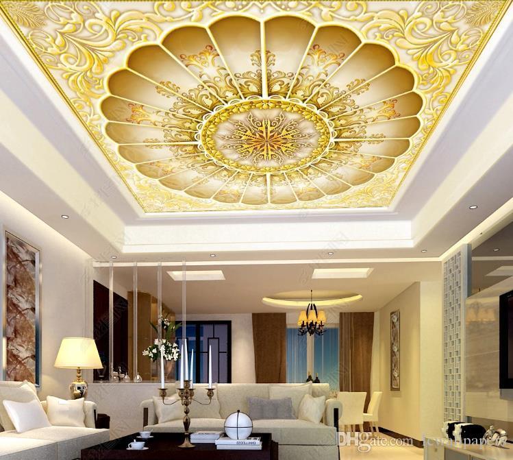 Gran Techo mural del papel pintado 3D alivio de encargo de lujo clásico en Golden Hall imagen salón de techo Mural Fondos