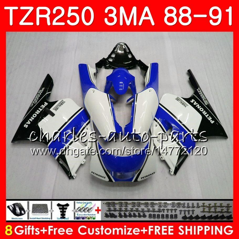 Körper für YAMAHA Whit Blue Stock TZR250 3MA TZR 250 RS RR YPVS TZR250RR 118HM.97 TZR-250 88 89 90 91 TZR250 1988 1989 1990 Verkleidungskit