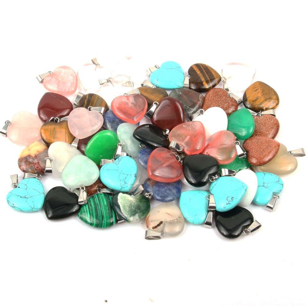 Wholsale камень кулон Сердце форма подвески опал / малахит подвески для ожерелья ювелирные изделия изготовление 20*6 мм