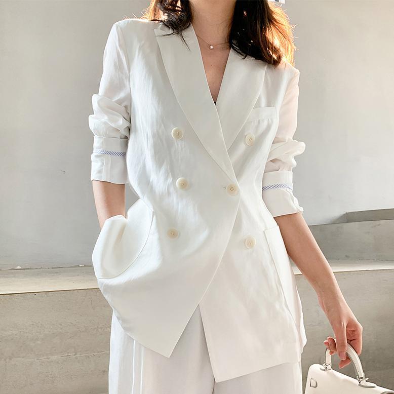 Женская Blazer костюм Solid White Blazer Пант костюм дамы вскользь Blazer и лодыжки Брюки Femme High Street Casual Wear