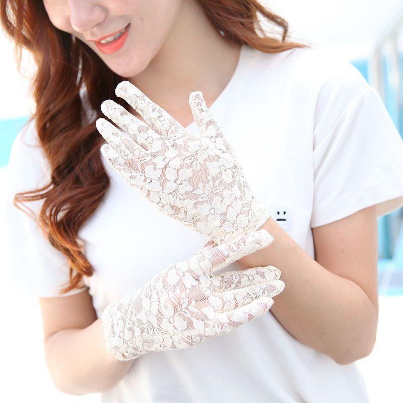 Como é que as mulheres usam luvas de protecção contra os raios ultravioleta contra a fina renda, Senhora Sexy, Luvas decentes e transparentes?