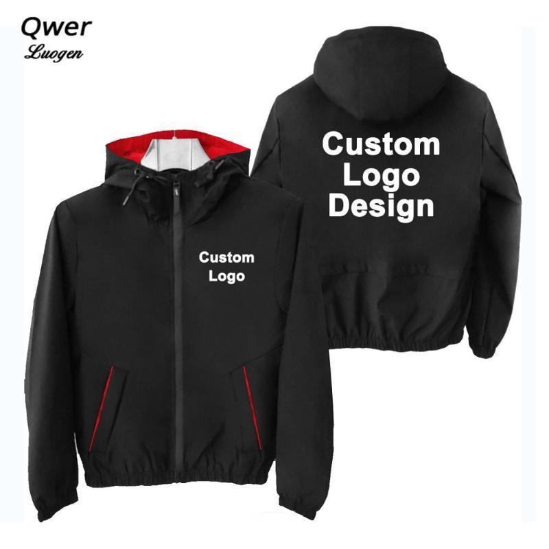 Logo otoño invierno Custom Design Los hombres con capucha chaqueta del suéter de moda unisex chaquetas al aire libre Corea del estilo DIY de la impresión de la cremallera