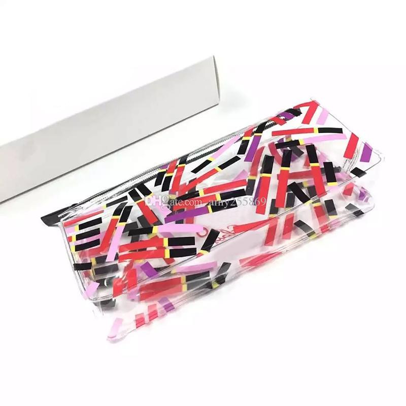Classic Transparent lipstick bag Famous fashion C Women Cosmetic bag ladies storage bag luxury design toiletry Case VIP gift
