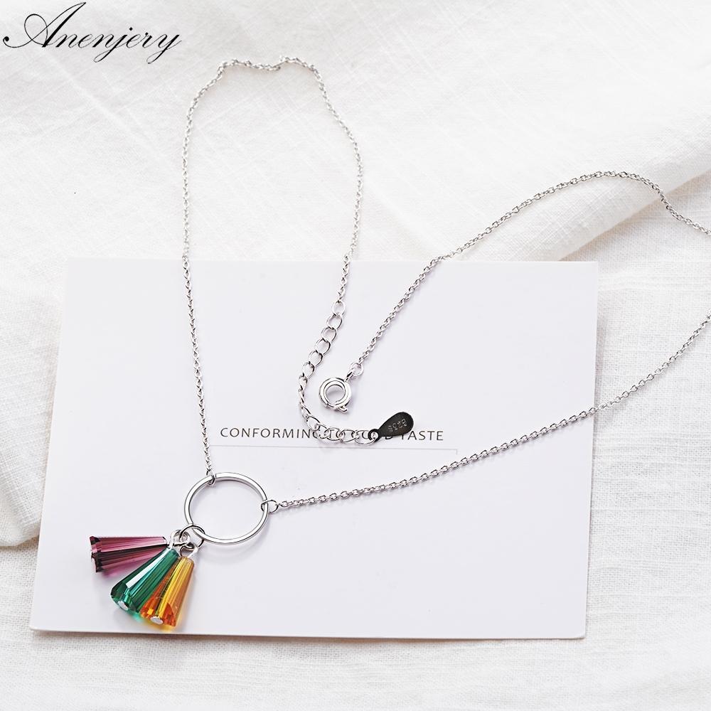 En forma de abanico collar del círculo de la borla del arco iris de cristal artificial colorido 925 de la plata esterlina para las mujeres