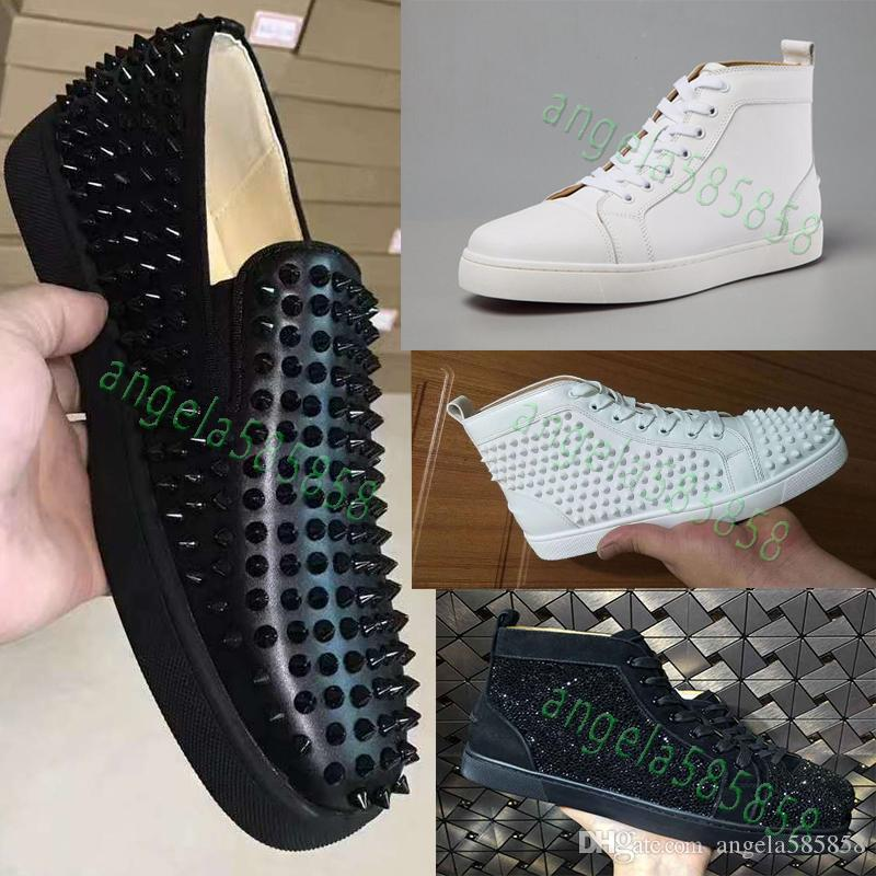 2020 New Red Studded Spikes Flats Luxury shoe for Mens Women Party Lovers Genuine Leather Casual Shoes Sneakers 35-47 Designer Bottom