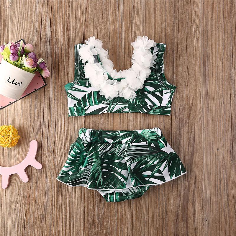 Лето малышей Дети Baby Girl Flower Bikini Set Две пьесы Купальники 3D Flower Green Leaf Версия для печати Купальник бикини Beach Holiday Set