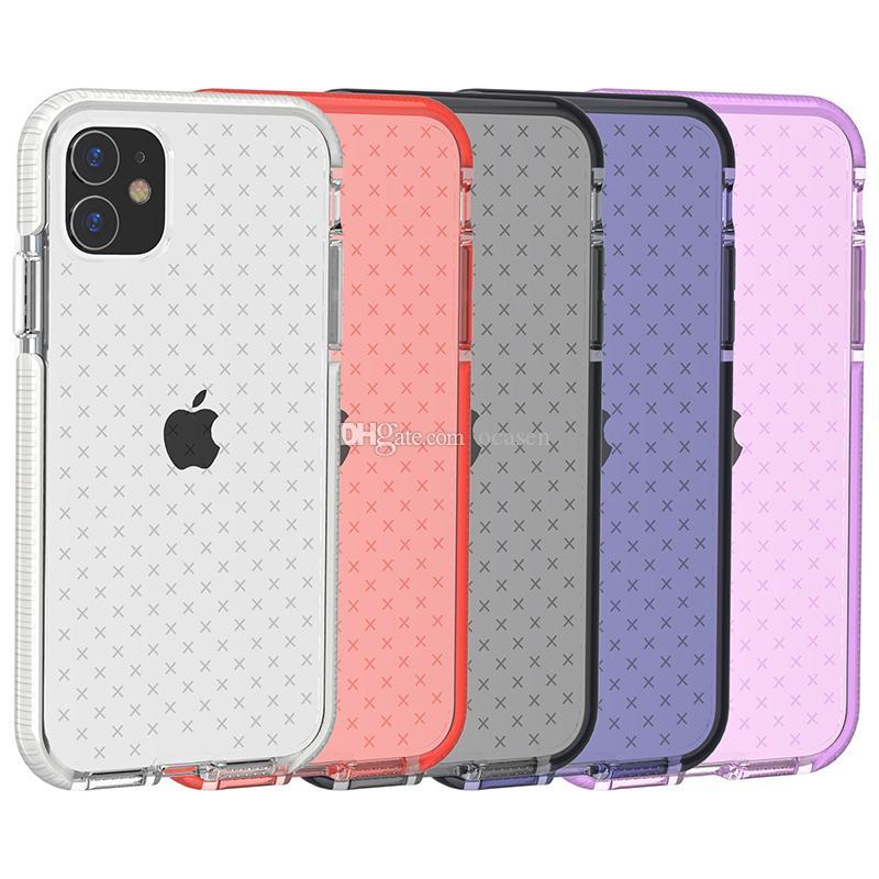 iPhone 11 Pro Max Premium Kalite Anti Bırak Şeffaf Çift Renk Yumuşak TPU Kauçuk Silikon Darbeye Temizle Telefon Kılıfı