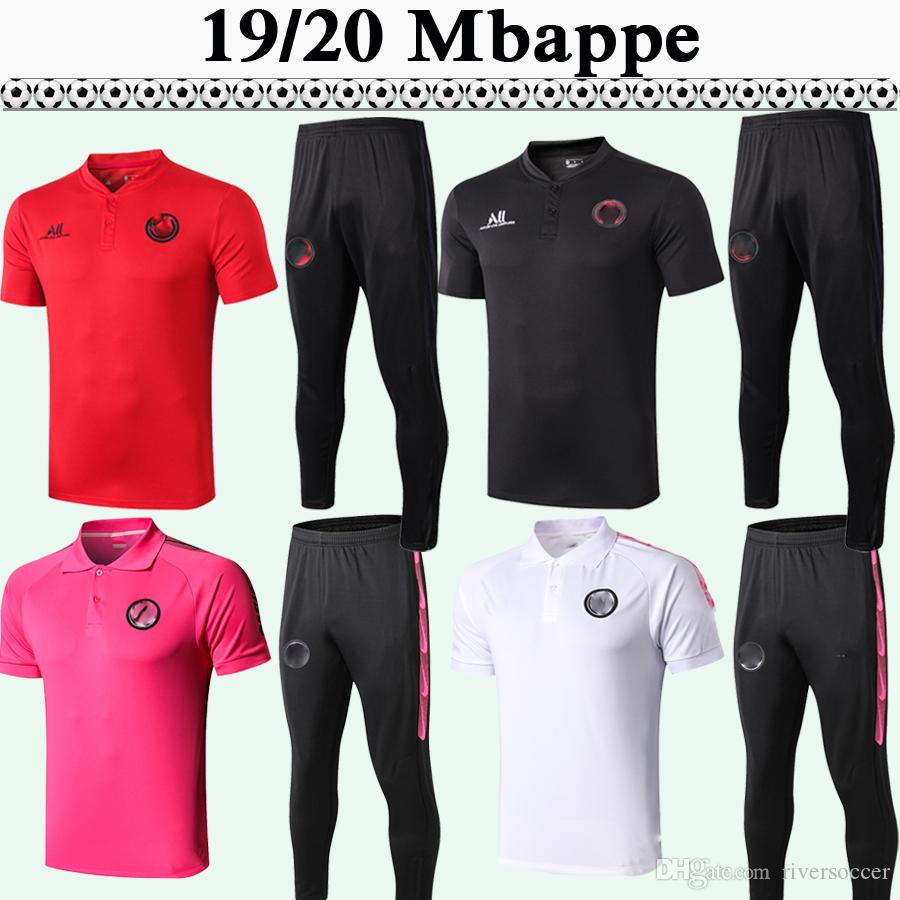 19 20 DRAXLER ICARDI Polo Soccer Shirts Kit MBAPPE MATUIDI VERRATTI Red Black Gray Pink White Football Jerseys DI MARIA CAVANI pants Top