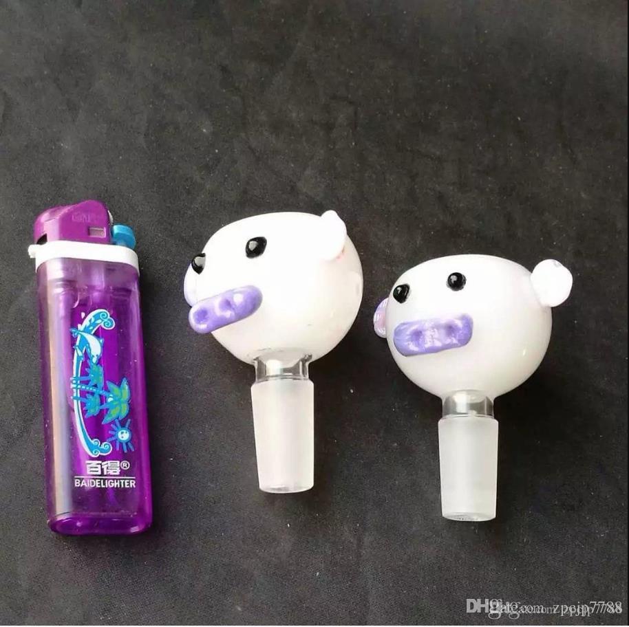 Accessoires de bongs de bulle de porc, Unique Oil Burner Bongs en verre Pipes Pipes d'eau en verre Pipe Oil Rigs Fumer avec compte-gouttes