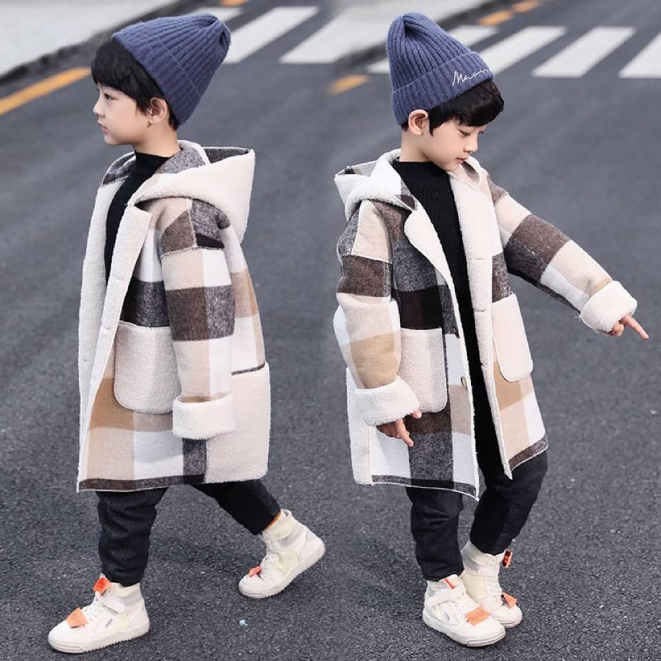 القادمون الجدد الخريف الشتاء الفتيان هوديس معطف لمدة 2-13 سنة طفل أطفال طويل الأكمام منقوشة عارضة قمم أبلى معاطف لونين