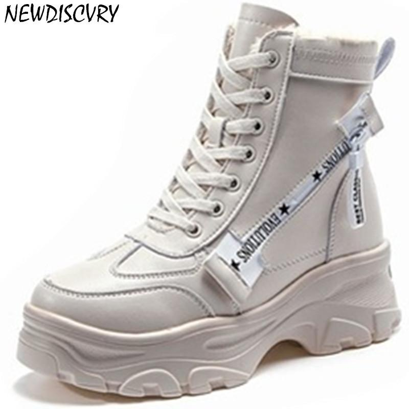 NEWDISCVRY femmes Bottes hiver de 2019 Chunky Mode Femme Martin Chaussures Hick fourrure chaude femmes plate-forme Sneakers Combat Chaussures MX200324