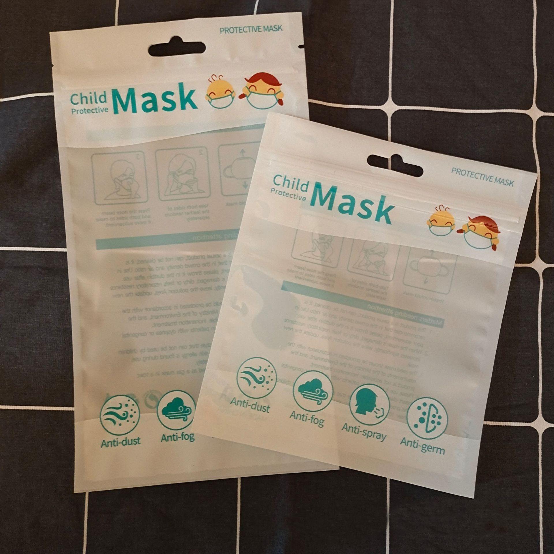 bebek çocuk çocuk Maskeler çanta Boş Perakende için Tek Kullanımlık Yüz Maskesi çanta için Kilit Çanta keseler fermuar stok Ambalaj Koruyucu OPP Çanta içinde
