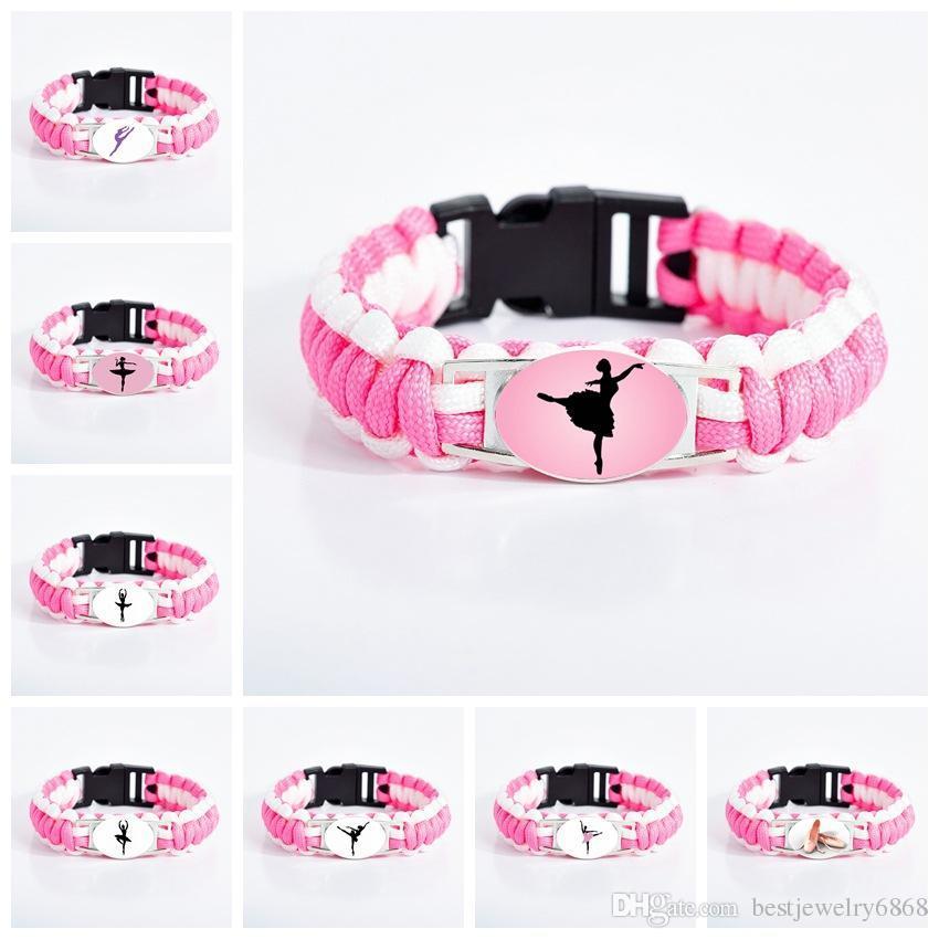 New Arrival ballet Dance bracelets For Women Girls Dancer Dance shoes sign Glass charm Pink Cord Wrap bracelet girlfriend Jewelry Gift
