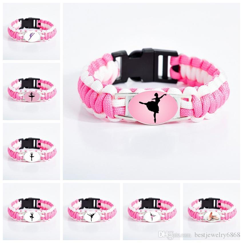 New Arrival ballet Dance bracelets For Women Girls Dancer Dance shoes sign Glass charm Pink Cord Wrap bracelet girlfriend Jewelry Gift
