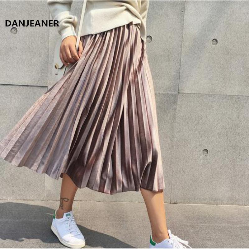 Danjeaner весна 2019 Женщины Длинные Metallic Silver Maxi плиссированные юбки миди юбки высокой талией Elascity вскользь партия юбка Vintage SH190824