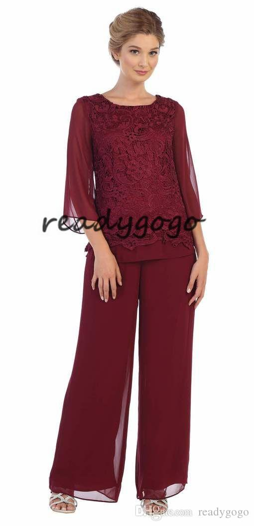 Burgundy Modest 2 piece mother of the bride/groom pant suit features long sleeve with lace top and chiffon material Perfect