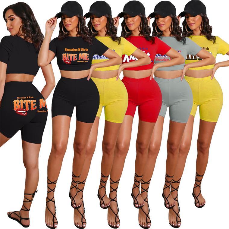 여성 운동복 디자이너 편지 입술 인쇄 단색 반팔 T 셔츠 자르기 최고 반바지 두 조각 세트 의상 스포츠 정장 D52503CZ
