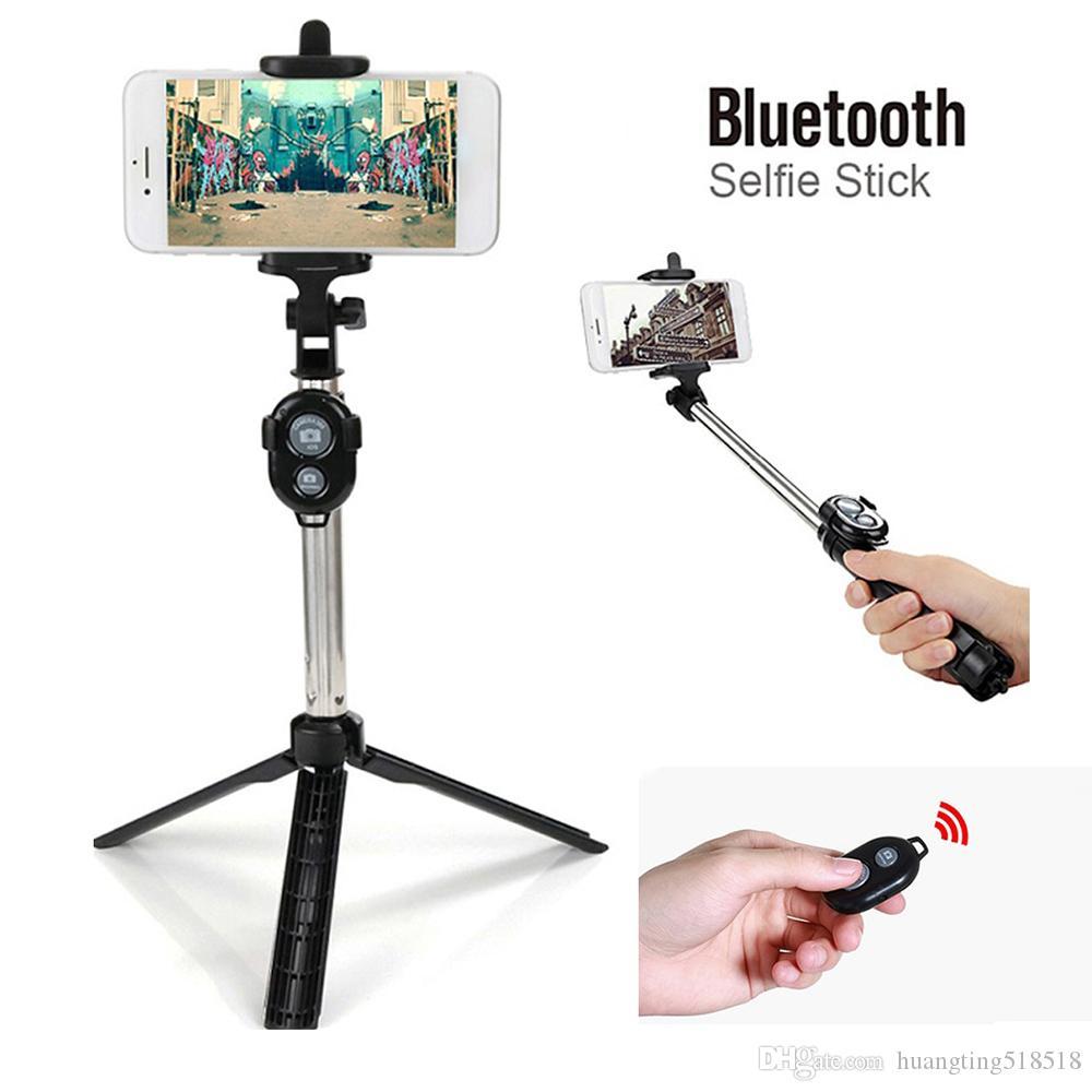 Telefon Clip ile 3 1 Kablosuz Uzaktan Kumanda Tripod Bluetooth Alüminyum Selfie'nin Çubuk Ayarlanabilir Açı