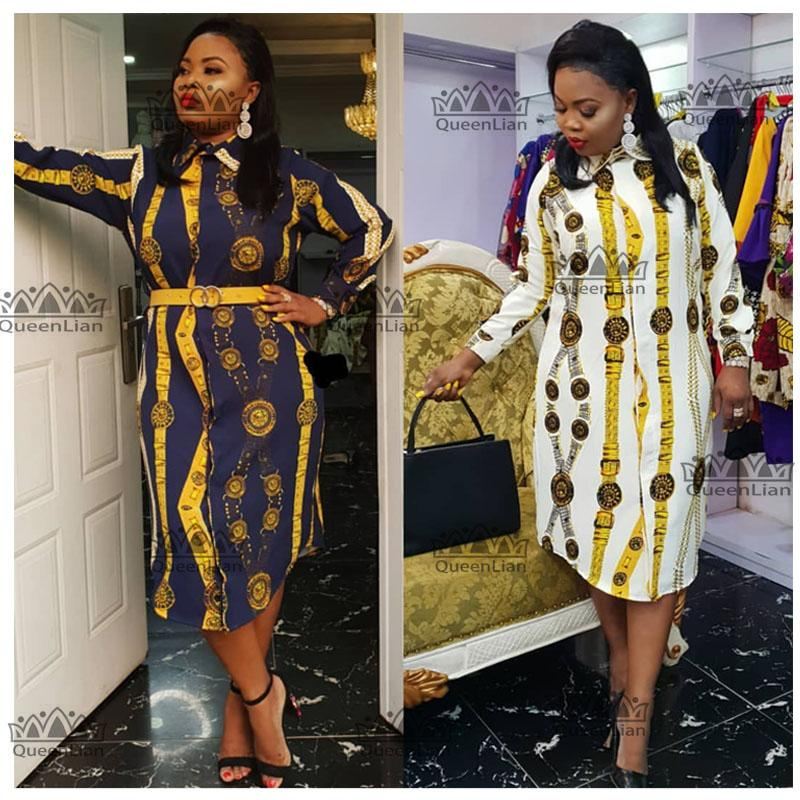 Boyut L-3XL 2019 Afrika Elbise Baskı Gömlek-Yaka Etek Büyük Elastik İçin Kadınlar (ZC07 #)