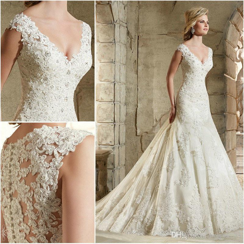 2020 Fashion sexy Lace Mermaid Wedding Dress Sexy V Neck Sleeveless Luxurious Crystal Pearl Illusion Button Back Court Train Bride Dress Ve