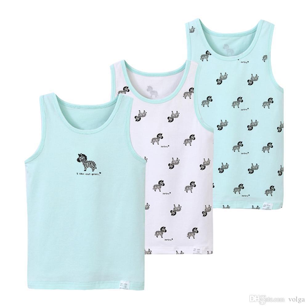 الأطفال ملابس داخلية بنين خزانات علوية الدعاوى طفل صبي الصيف سترات واقية قطن قمصان الأطفال مطبوعة أكمام فانيلة