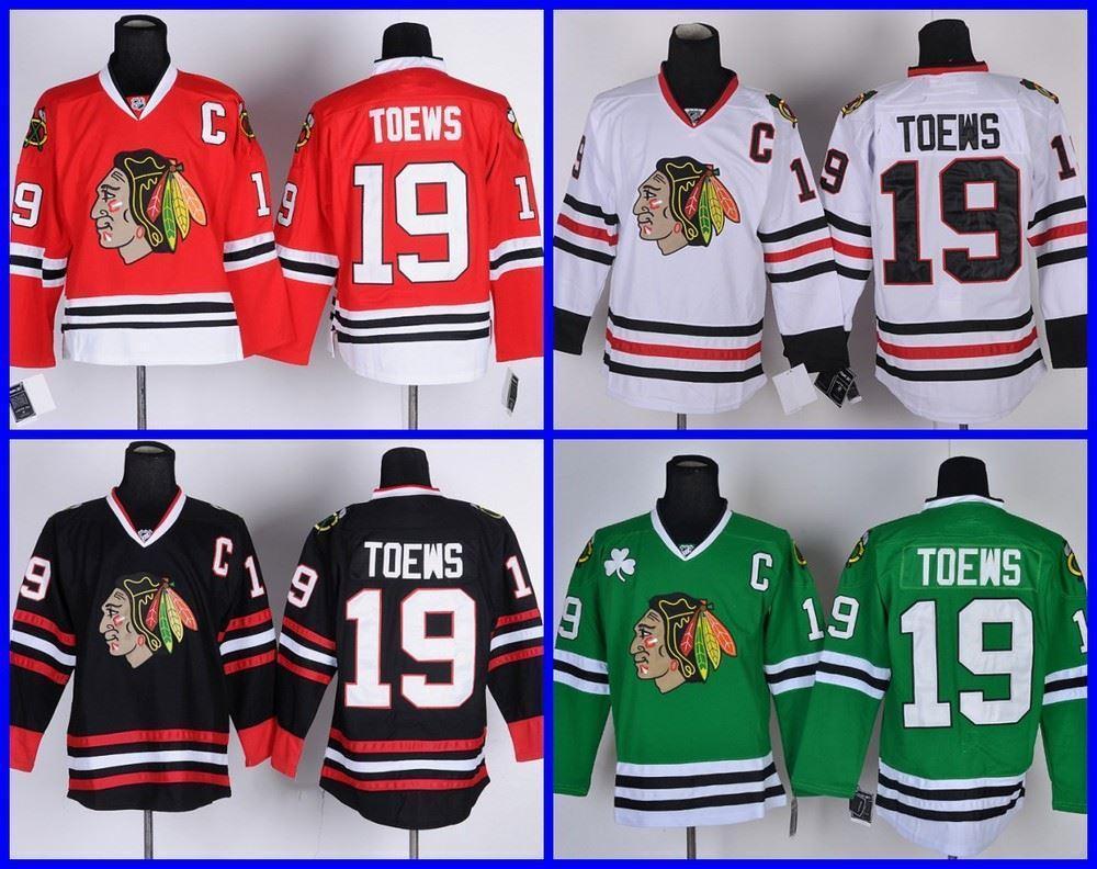 TOP SALE Чикаго Блэкхокс Тэйвз # 19 Мужская Хоккей Джерси Белый Красный Зеленый Черный, прошитой, M ~ 3XL, дешевые оптом, Mix