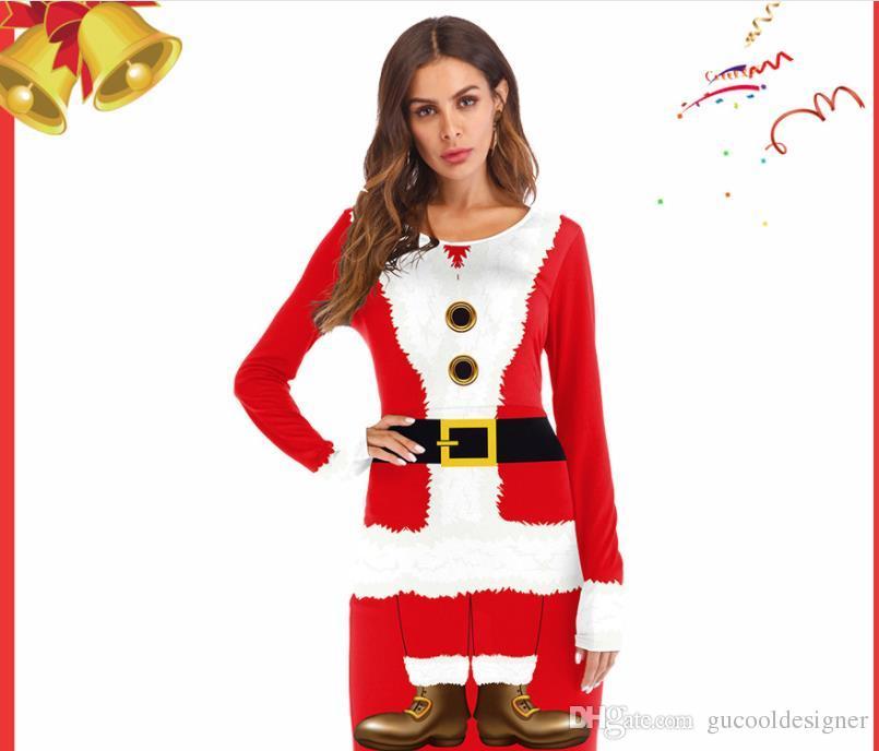 Vestido de Papai Noel ocidental com fita impressa digital de manga comprida uniformes vermelhos vestido de natal cosplay