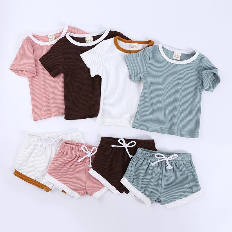 Bebek Çocuk Giyim Erkek Giyim Kız Pajam Çocuk kısa kollu gömlek şort İki parça Suit Çocuk Casual Ev Kıyafet Takımları