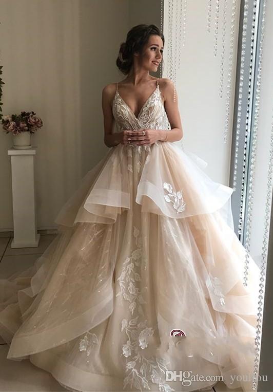 New Style Organza Wedding Dress 2019 Spaghetti Strap V-neck Appliqued Lace Bride Wedding Gowns