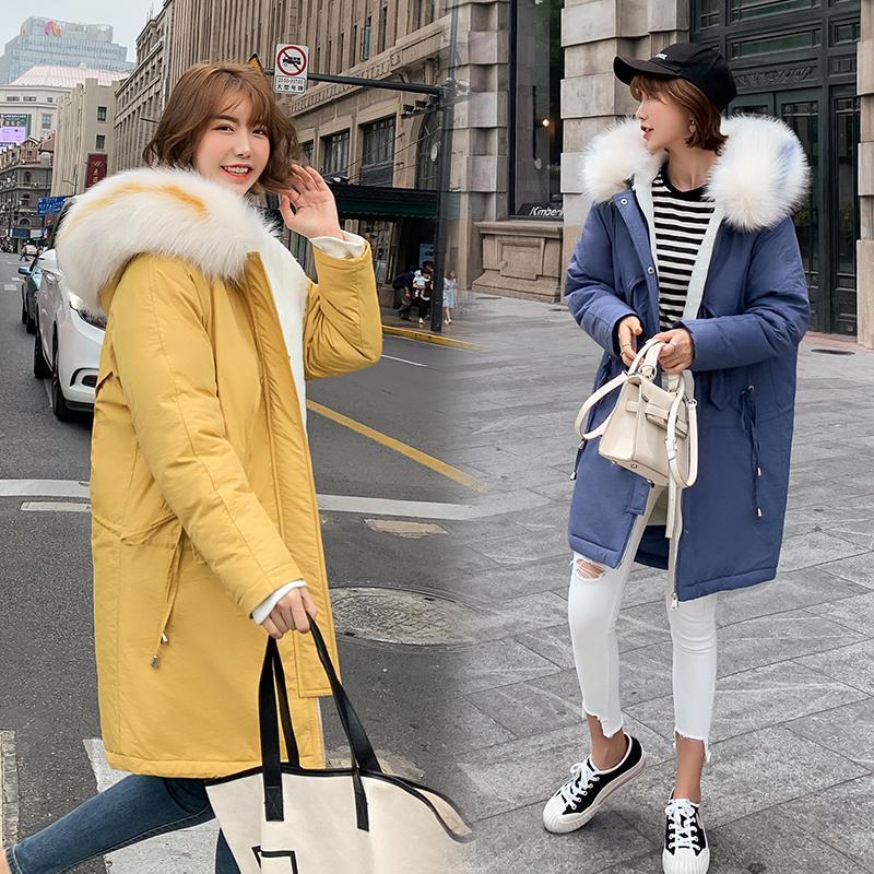 Fur Collar Coat Women Winter Jackets Down Cotton Hooded Coat Plus Size Parkas Plus Velvet Coats Long Fashion Female