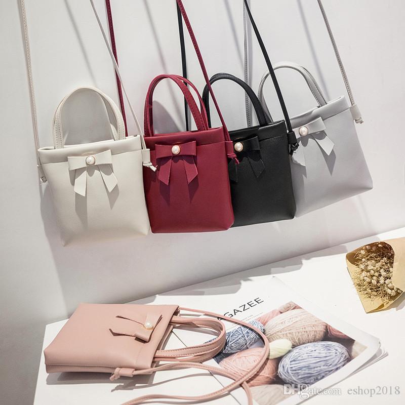 Kids Girls Mini Bags Backpacks Woman One-shoulder versatile simple trend packet Wallet cosmetic bag bow decoration handbags