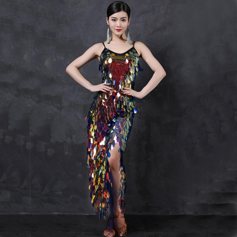 Belly Dance Long Dresses Mermaid Costume Women Dance Wear Spandex Stretchy Satin Multicolor Squama Sequins Strap Dress