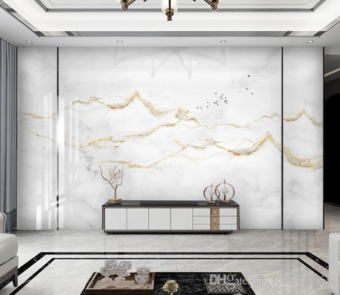 Documentos de decoración de la pared del papel pintado 3D Inicio de jazz moderno simple de oro blanco de mármol paisaje Tapetes fotográficos Salón Dormitorio