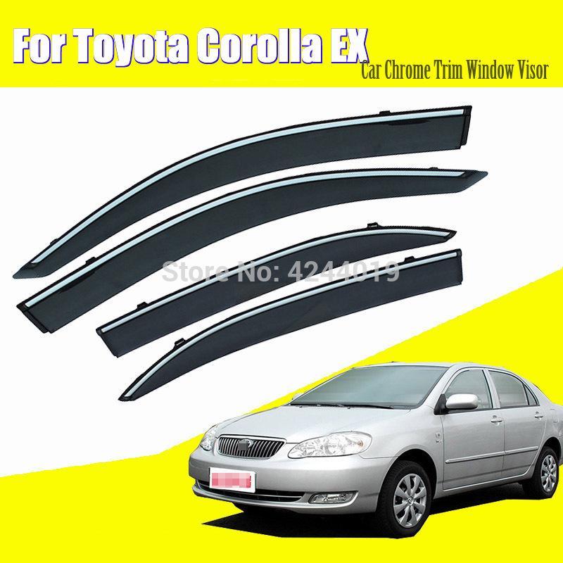 Auto Markisen Unterstände Fenster Visiere Sonne Regen Schild Aufkleber Abdeckung Überzug Chrome Trim Auto Zubehör Für Toyota Corolla EX