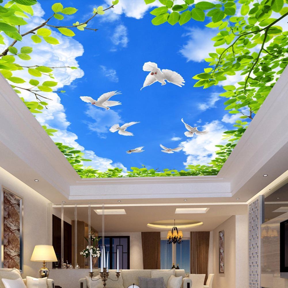 Dropship bleu ciel blanc Nuages feuilles vertes Pigeons plafond Frescoes photo faite sur commande papier mural Salon mural naturel Paille Fond d'écran 3D