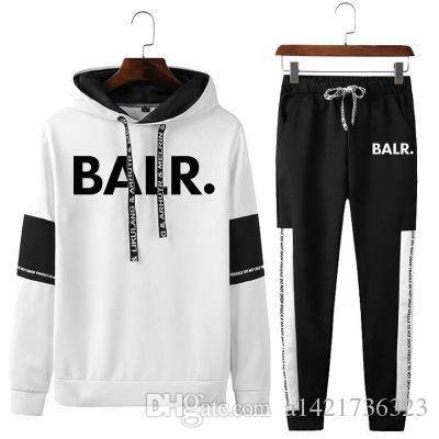 BALR duas peças SET Outono Inverno 2 peças conjunto de homens / mulheres letras impressas camisola + terno de calças Fatos manga comprida Sportswear Outfit
