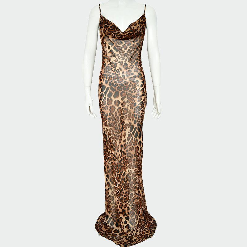 2020 robes de femmes européennes et américaines se vendent bien en nouveau style, robes imprimées léopard avec des bretelles et le dos qui fuient