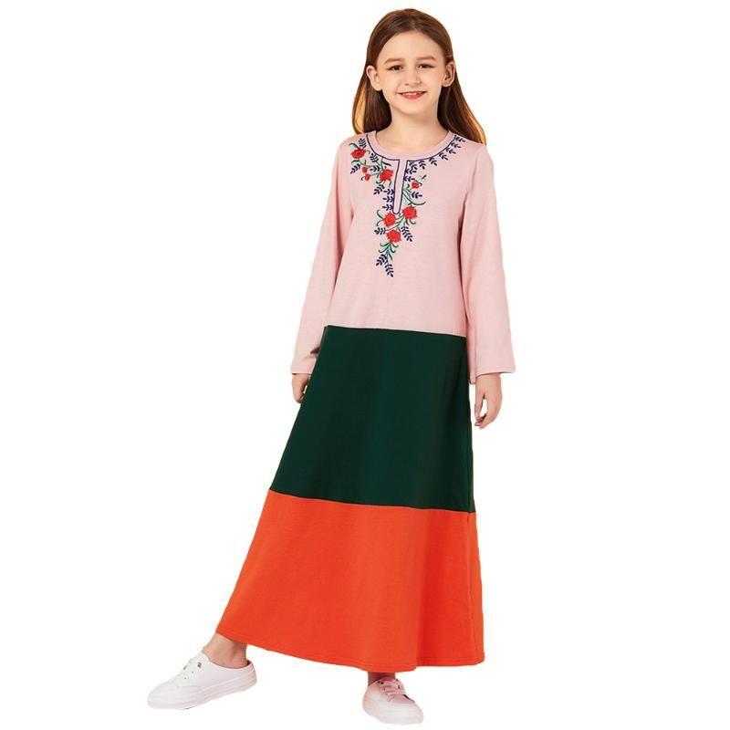 아이 여자 긴 드레스 이슬람 아바야 두바이 카프 탄 어린이 이슬람 Jilbab 꽃 자수 부르카 맥시 칵테일 로브 가운 라마단