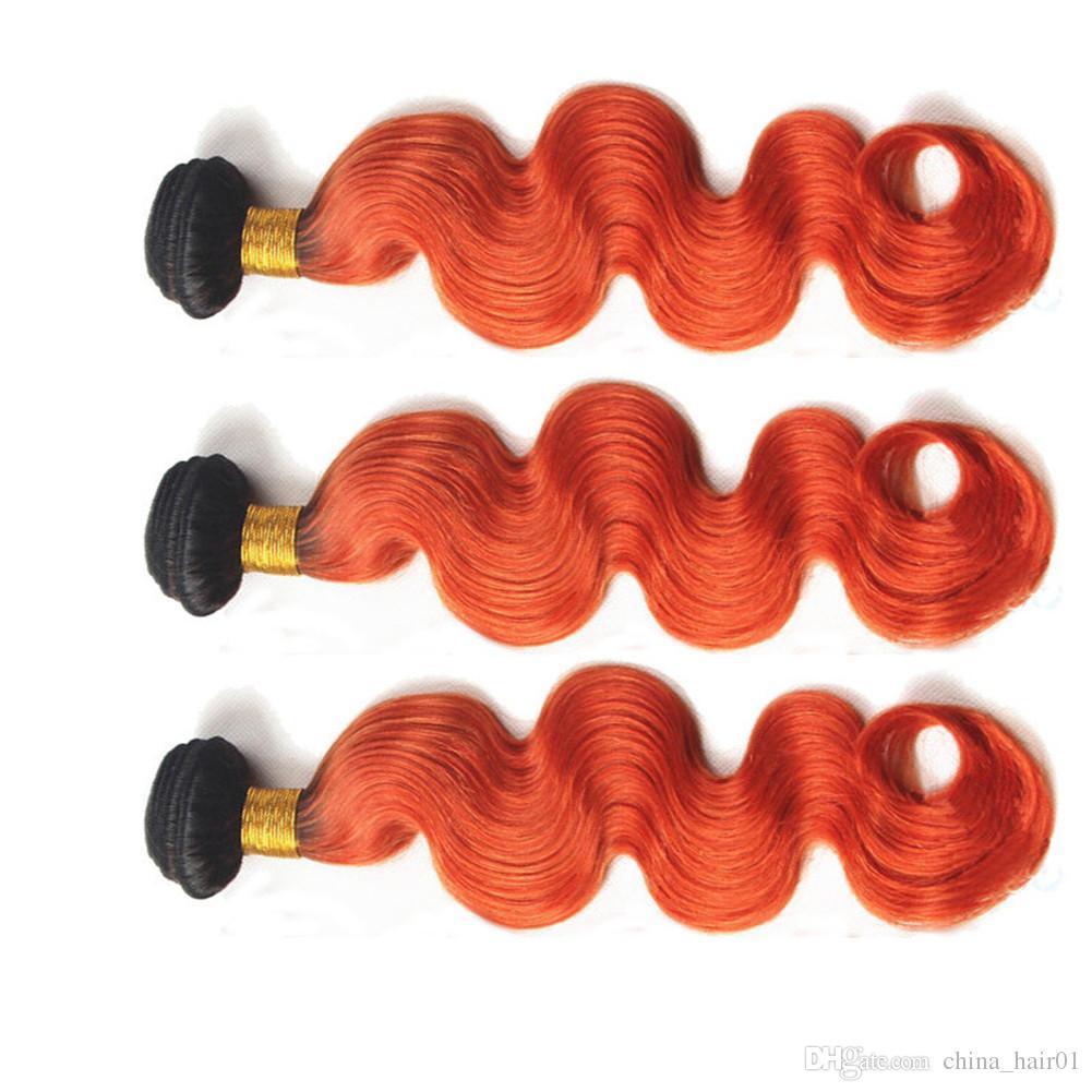 # 1B / 350 جذور البرتقال أومبير جسم موجة بيرو الشعر حزم مل 3pcs الظلام أومبير أورانج متموجة الإنسان نسج الشعر الامتدادات 10-30 طول مختلط