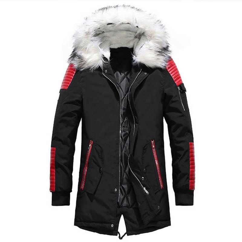 Горячие продажи зимняя куртка теплая мужская утолщаются парки повседневная длинные пиджаки с капюшоном воротник мужские куртки высокое качество Весте Homme пальто