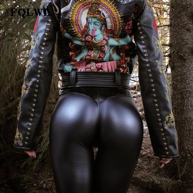 FQLWL Punk Bodycon Faux Pu Calças De Couro Mulheres Push Up Preto Calças de Cintura Alta Feminino Outono Inverno Calças Mulheres Calças Sexy SH190828