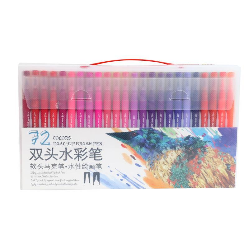 72 Colori Acquerello Pennello Penna pennarelli artistici Penna Dual punte pennello fineliner Art Marker Calligrafia / journal penne