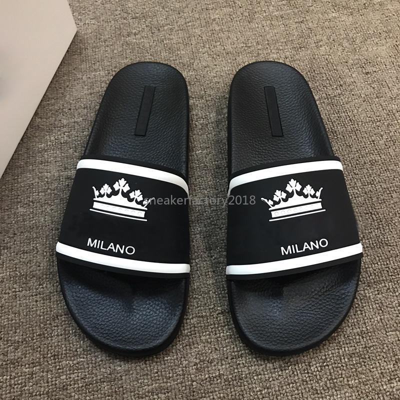 2020 delle donne degli uomini Estate Sandali Beach scorrere casual pantofole perfetta qualità Re Corona Designer Prestigio Italia Stampa Slipper con la scatola