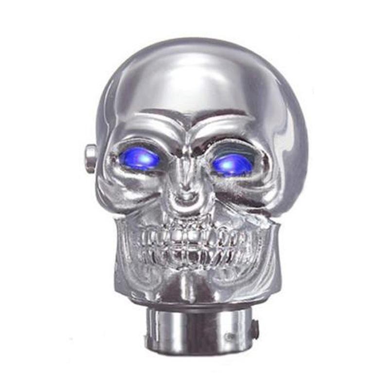 Manual do Crânio Car Universal Chrome SHIFT de engrenagem da vara Shifter Knob Lever LED azul