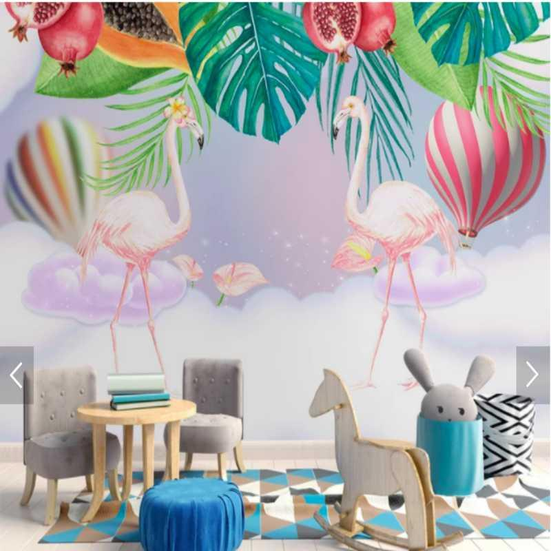 Original Nordic Ins Pink Couple Flamingo Childrens Room Background