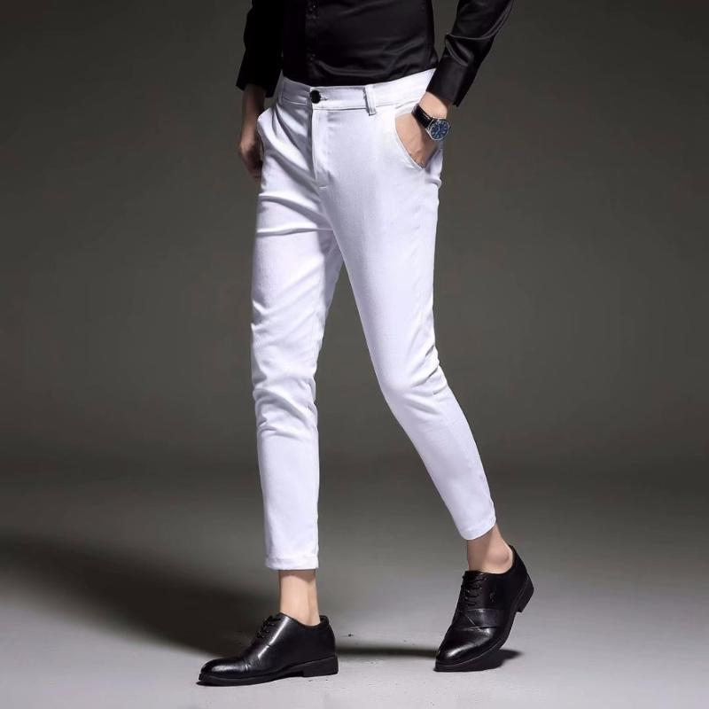 Erkek Slim Fit İş Elbise Pantolon Ayak Bileği Uzunluğu Yaz Resmi Takım Pantolon Siyah Beyaz Mavi