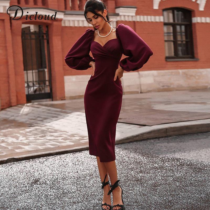 toptan Şık Akşam Partisi Elbiseler Kadınlar Seksi Vintage BODYCON Midi Elbise Siyah Uzun Kollu Sonbahar Kış Giyim Kadın