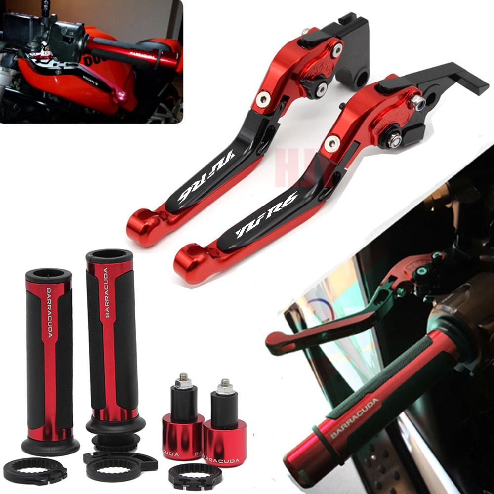 New Laser Engraved YZFR6 Folding Extendable Motorcycle CNC Brake Clutch Levers For YZF R6 2017